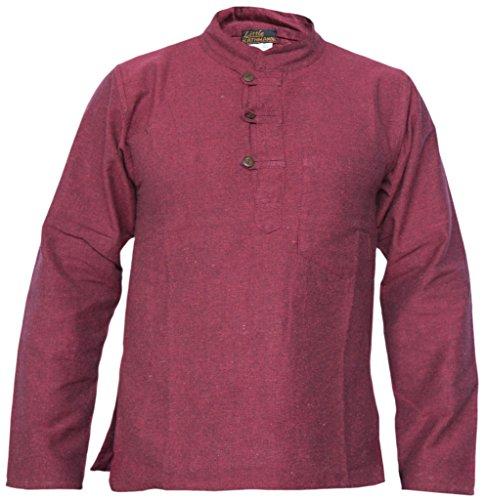 Little Kathmandu Herren Hemp Baumwolle Plain Grandad Kein Kragen Tasche Hemd Maroon Large