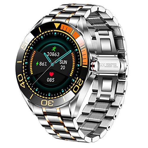 LIGE Smartwatch para Hombre, IP68 Impermeable Rastreador de Ejercicios Frecuencia Cardíaca Oxígeno en Sangre Monitor de Presión Arterial Pantalla Táctil Completa Reloj Inteligente(Oro y Plata)