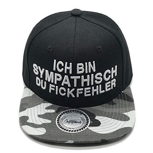 Outfitfabrik Snapback Cap Ich Bin sympathisch du Fickfehler in schwarz/Camouflage, 3D-Stick (Festival, Lifestyle, Provokation, Statement)