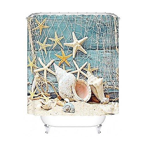 Seesterne & Muscheln Duschvorhang Anti Schimmel, viele schöne Duschvorhänge zur Auswahl, hochwertige Qualität, inkl. wasserdicht, Anti Schimmel Effekt, 180 x 180 cm