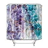 Zyduslio Purple and Turquoise Quartz Stone Bathroom Waterproof Fabric Shower Curtain Set Shower Curtain Bath Shower Bathroom Accessories 66x72 Inch