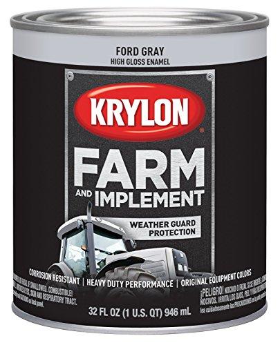 Krylon 2028 Farm & Implement Brush, High Gloss, Ford Gray, 1 Quart Architectural Paints