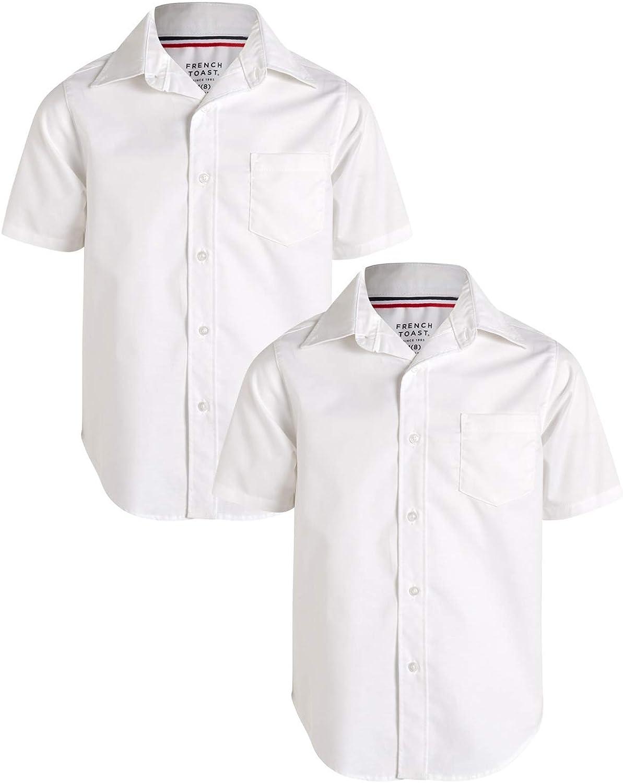 French Toast Boys' School Uniform - Short Sleeve Button Down Oxford Dress Shirt (2 Pack)