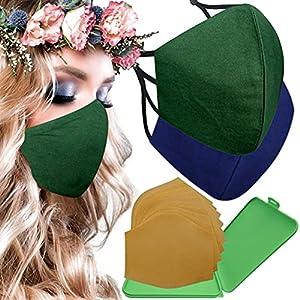 Cussi – Maschera in tessuto igienico riutilizzabile omologata UNE 0065:20 e certificato BFE 99%, lavabile fino a 20 cicli-pack 2 mascherine, astuccio, filtri extra (verde scuro, blu marino)