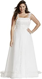 David's Bridal A-Line Plus Size Wedding Dress with Cap Sleeves Style 9V9010