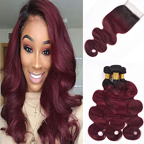 ALI RAIN Human Hair Bundles Body Wave Virgin Brazilian Hair Bundles with Closure Weave Hair Human Bundles With Closure 3 Bundles with Closure (14 16 18 + 12, T1B/99J)