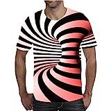 Aoccker T-Shirt Sportiva da Uomo A Maniche Corte con Stampa 3D T-Shirt Estiva Girocollo,B,XL