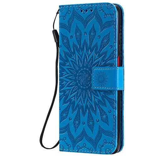 KKEIKO Hülle für Xiaomi Redmi K30, PU Leder Brieftasche Schutzhülle Klapphülle, Sun Blumen Design Stoßfest Handyhülle für Xiaomi Redmi K30 - Blau