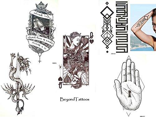 5 Bögen Top Trend Tattoos Linien Tattoo Graphische Tattoo Set X3 Spielkarten Schwert Drachen