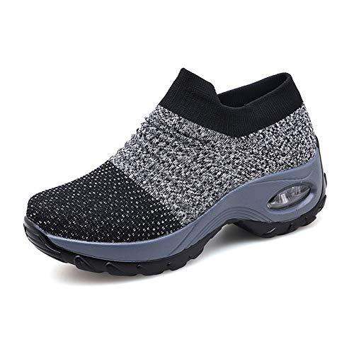 Zapatillas Deportivas de Mujer Gimnasio Zapatos Running Deportivos Fitness Correr Casual Ligero Comodos Respirable Negro Gris Morado 35-42 GY36