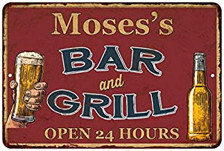 Chico Creek Signs Moses's Red Bar and Grill Personalized Rustic Sign 16 x 24 Matte Finish Metal 116240045281