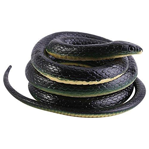 【 】 Serpiente Negra de Goma Suave, 130 cm de Pulgada, Juguete de susto Largo, Accesorios de jardín, Broma Divertida, Juguete de Regalo