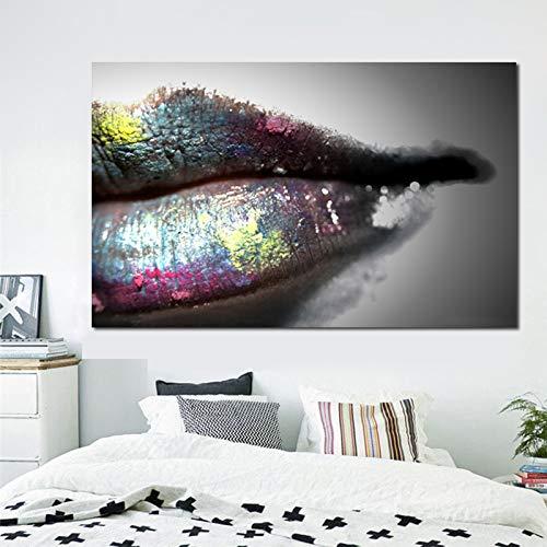 SADHAF Moderne Ölgemälde Farbe Leinwand Malerei sexy Lippen Wandkunst Poster Druck Wand Wohnzimmer Dekoration A2 40x50cm