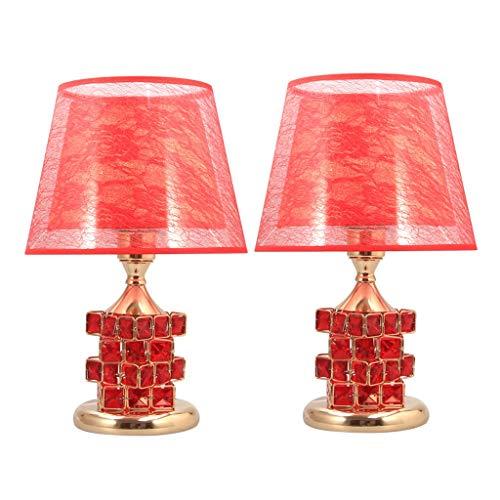 SHUTING2020 lámpara de Mesa Tabla Cristal de lámpara de Mesa Moderna Lámpara de 16 Pulgadas de Cristal de Cristal de la lámpara Postales y de Doble Pantalla Interruptor Doble Juego de 2 Lámpara Noche