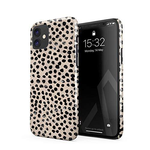 BURGA Hülle Kompatibel mit iPhone 12 - Handy Huelle Schwarz Punktmuster Polka Dots Pattern Nude Almond Latte für Frauen Dünn Robuste Rückschale aus Kunststoff Handyhülle Schutz Hülle Cover