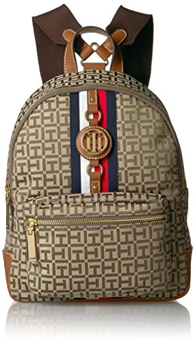 Tommy Hilfiger Women's Backpack Jaden, Tan Dark Chocolate