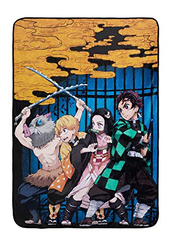 Demon Slayer Blanket- Officially Licensed Merchandise from The Anime Demon Slayer- Comfy Lightweight Fleece, Throw, 45x60 inches (Yellow)