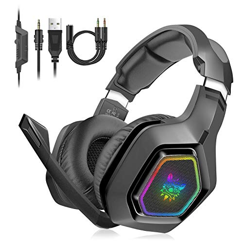 Unisun PS4 Headset PC Gaming Headphone with Microphone 3.5mm Jack Spliter Stereo Sound Breathing RGB Light Adjustable Mic for Xbox One Mac Laptop PC PS5