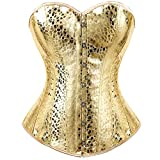 Kranchungel Women's Punk Rock Faux Leather Corset Retro Goth Waist Cincher Basque Bustier 3X-Large Gold