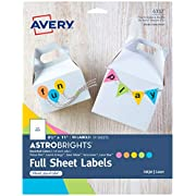 Avery Astrobrights Color Easy Peel Full-Sheet Labels
