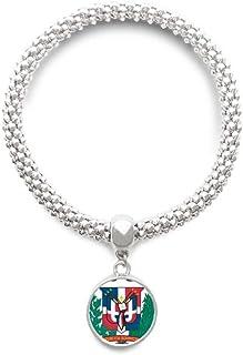 277b17ea608d DIYthinker Cadena de joyería República Dominicana Emblema Nacional País  Astilla Pulsera Pendiente Redondo