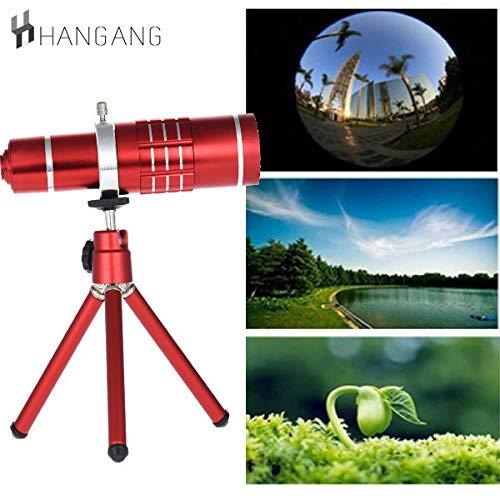Hangang Teléfono Cámara Lente, 18 x Óptico Enfoque Manual Teleobjetivo, Telescopio + Anillo Adaptador + General Clip + Ajustable Trípode Yuntai