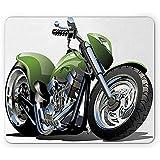 25X30CM Tappetino per mouse moto, design motociclistico con pneumatici Azione Urban Life Graphic Design Art Mousepad, grigio e verde