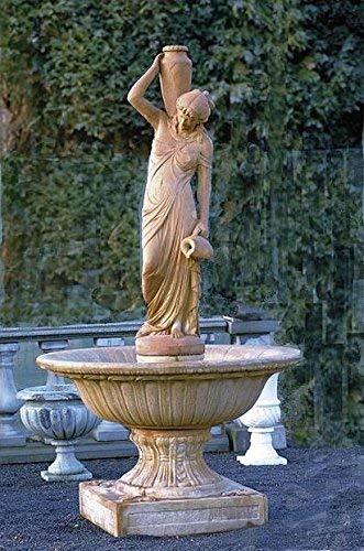 pompidu-living Brunnen, Gartenbrunnen, Zierbrunnen, Fountain, Frau mit Krügen Farbe Terracotta