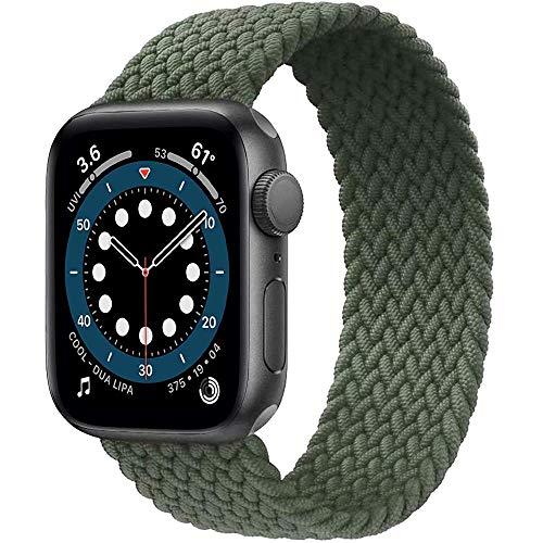 Preisvergleich Produktbild Daihook Dehnbare Verflochtenen Ersatzband Kompatibel mit Apple Watch Armband 38mm 40mm,  Geflochtenes Solo Loop kompatibel mit Apple Watch Serie 5 / 4 / 3 / 2 / 1 / 6 / SE-Grün Nr.6(157mm-164mm Handgelenk)