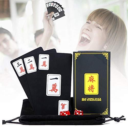 BRANDNEWS 144 Stück/Set Chinesisches Mahjong Kartenspiel, Tabletop Unterhaltungsspiele Kunststoff Wasserdichte Spielkarten Reisespiel Party Spielkarten Set pretty