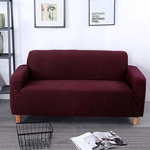 KTUCN Fundas de sofá, Funda de sofá Jacquard, Funda de sofá de Sala de Estar, Funda de sofá elástica elástica para Protector de Muebles, borgoña, A-B 235-300cm