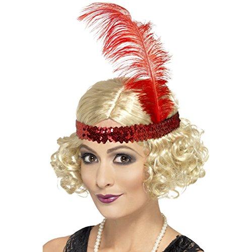 Amakando Perruque avec Bandeau à Pailettes Rouges Blond Faux Cheveux Charleston Années 20 Bouclé Cancan Soirée Carnaval