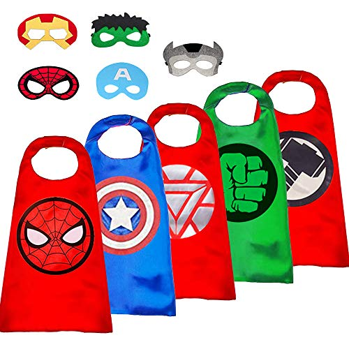 NOOCOS 5 Different Superheros Cape and Mask Costumes Set for Your Kids Party Supply (5 Different Superheros)