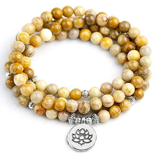 WOVP Pulsera Brazalete De Coral Fosilizado 108 De Las Mujeres De 6 Mm. Pulsera O Collar De Cuentas De Los Hombres De Las Mujeres Lotus Joyería del Encanto del Loto