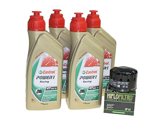 Oliewisselset 4 liter Castrol SAE 10W-50 Power 1 Racing 4T incl. oliefilter Hiflo HF165 voor BMW F 800 S/ST/ABS / E8ST K71