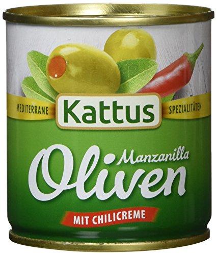 Kattus Spanische grüne Oliven, mit Chilicreme gefüllt, 8er Pack (8 x 85 g)