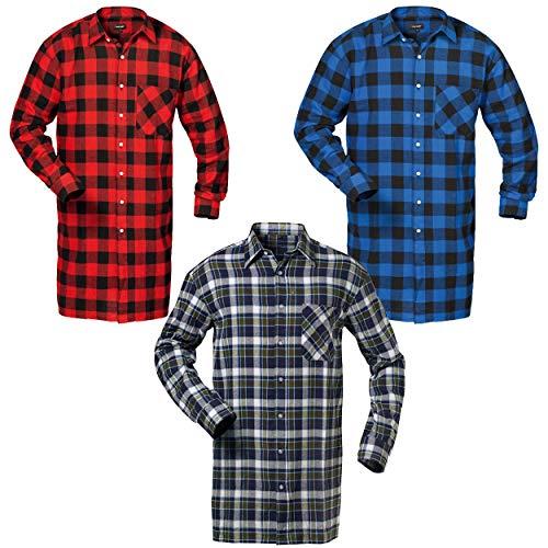 Craftland Flanell Hemd extra lang im 3er-Set 100% Baumwolle mit Brusttasche in blau, rot, Marine Größe wählbar (XXL)