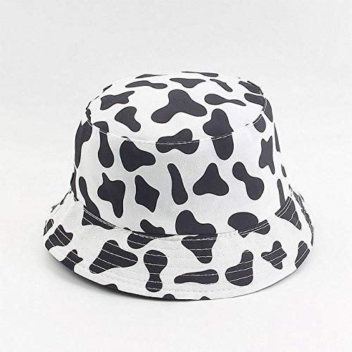 Print Hat White Black Bucket Hat Reversible Fisherman Caps Summer Hats For Women Gorras-cow print