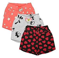 Aatu Kutty Girls Cotton Casual Shorts - Pack of 3