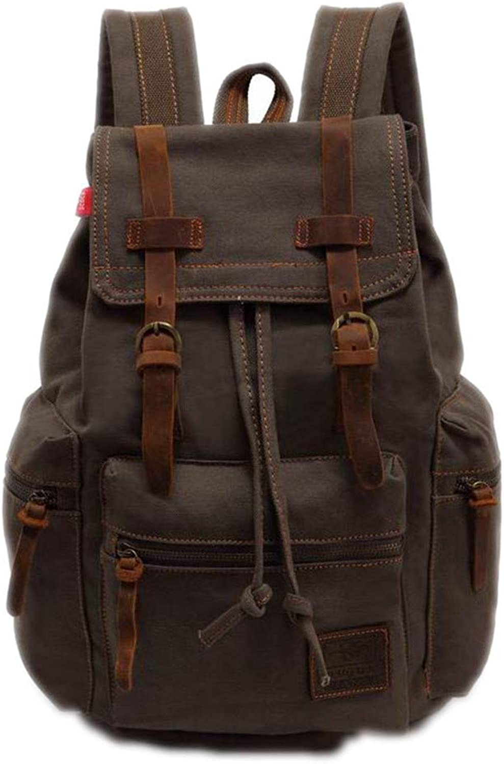 Campus Backpack Men's Backpack Vintage Canvas Men's Travel Bags Large Capacity Laptop Backpack Backbag ArmyGreen 15 Inches School Rucksack (color   ArmyGreen, Size   15 Inches)