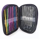 Juego de 22 agujas de ganchillo de diferentes tamaos, 10 ganchos de crochet de aluminio y 12 tamaos de ganchillo de acero inoxidable