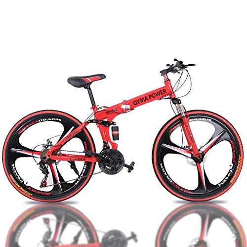OYMA Power 26 in 21-Speed Full Suspension MTB Bikes Folding Mountain Bike … (Red)