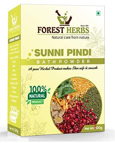 Forest Herbs Sunnipindi Herbal Bath Powder Ubtan Pack Scrub - Skin Lightening & Tan Removal - Ancient Ayurvedic Healing - Enriched with Turmeric - 500Gms