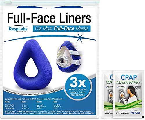 RespLabs Liners für CPAP-Vollgesichtsmaske- [3er Pack] Wiederverwendbar, Universell und Super Bequem