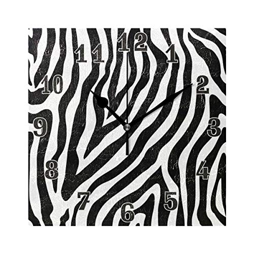 orologio da parete zebrato Divertente orologio da parete quadrato in acrilico con motivo zebrato a strisce