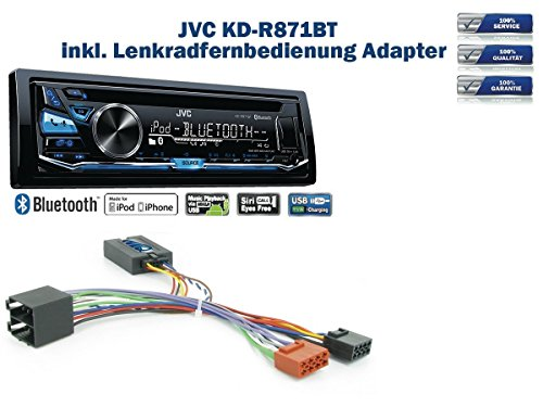 JVC KD-R871BT inkl. Lenkrad Fernbedienung Adapter Citroen C2/C3/C5/C8 & Berlingo
