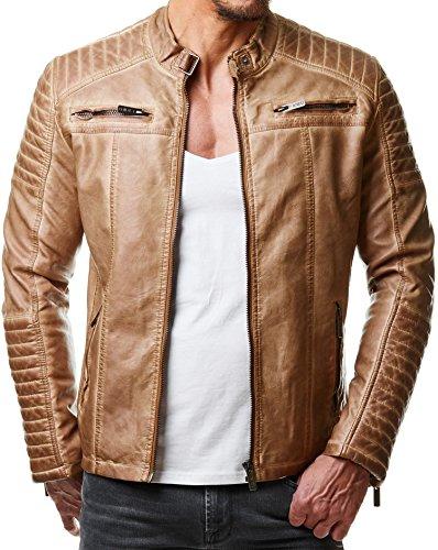 Redbridge Herren Jacke Übergangsjacke Biker Kunstleder Echtleder Baumwolle mit gesteppten Bereichen (L, Camel - Kunstleder)