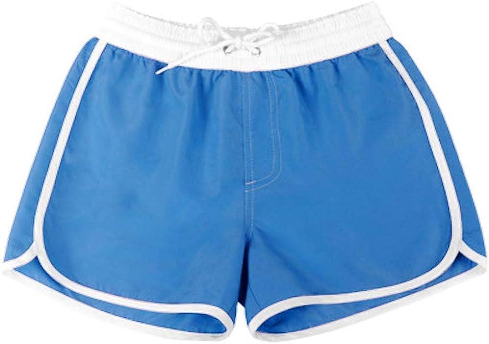 MIAIULIA Womens Swim Mid-Rise Retro Shorts with Pockets Swim Shorts Board Shorts Bottom