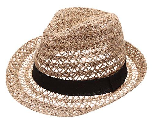 MIRMARU Summer Foldable Trilby Short Brim Lightweight 100% Linen Crushable Fedora Hat with Band(Beige)