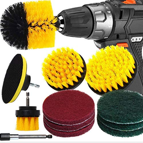 12 Pcs Drill Brush Attachment Set , Power Scrubber Drill Brush Bathroom Cleaning Kit with Pad Sponge and Extend Attachment for Cleaning - Bathroom,Kitchen,Car, Grout, Carpet, Floor, Tub, Tile, Corners